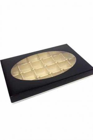 Boîte 24 chocolat avec fenêtre noir