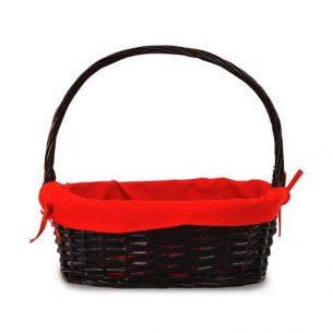 Panier ovale noir avec doublure rouge & anse