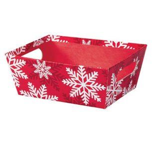 Panier de carton rouge avec flocons