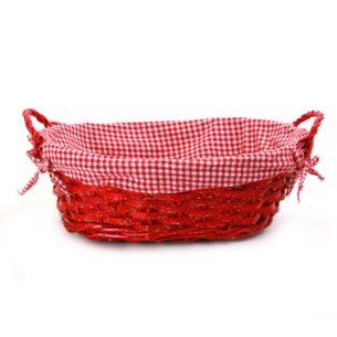 Panier ovale rouge avec doublure & poignées
